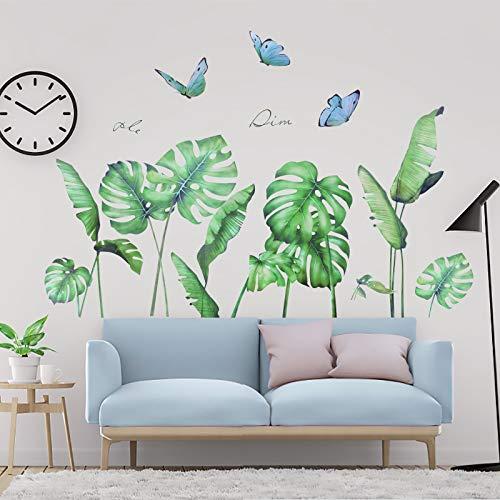OOTSR Adesivi Murali Foglie Verdi, Adesivo Murale Piante, Adesivi da Parete Decorazione per Camera da Letto Soggiorno Casa