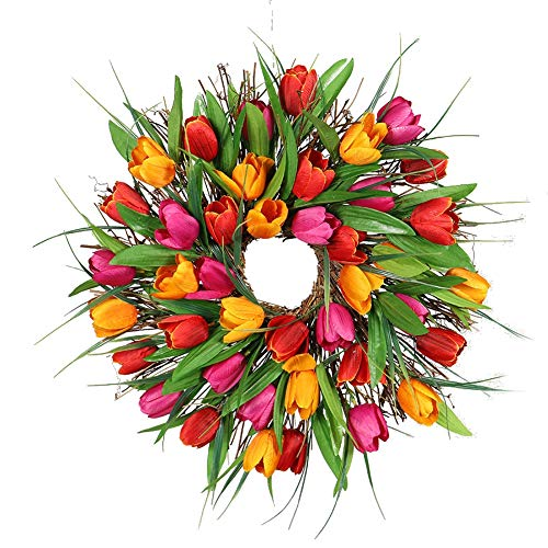 Forart 16 Inch Tulip Wreath Artificial Flower Wreath Handmade Silk Tulip Wreaths Spring Front Door Wreath Garland Home Decor for Window Wall Party Wedding Valentines Day Hanging Decoration
