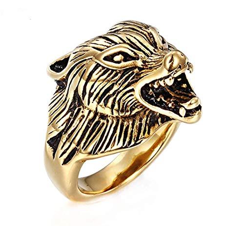 JIANLISP Dominante único Lobo Hombre en Cabeza de Oro Anillos de Acero