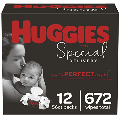 HUGGIES Special Delivery Hypoallergenic Baby Wipes, Unscented, 12 Flip-Top Packs (672 Wipes Total), White