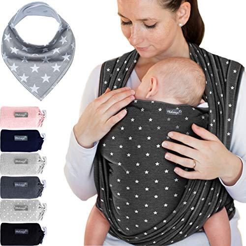 Babytragetuch Dunkelgrau mit Sternen – hochwertiges Baby-Tragetuch für Neugeborene und Babys bis 15 kg - inkl. GRATIS Baby-Lätzchen