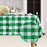 SARAFLORA St Patrick's Day Checkered Fabric Rectangle Table Cloth, Polyester Shamrock Pattern Tablecloth, Table Cover Protector for Party, Banquet, Dinner Decoration Use, 60 x 84 Inch, Green & White