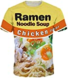 Keasmto 3D Ramen Chicken Noodle Soup Shirt for Men Women T Shirts Cotton Cute Tag XL