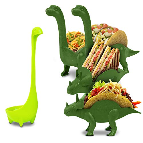 Dinosaur Taco Holder Set by East World – Tacosaur Tribe with BrontoSpoon Ladle - 4x Dino Stands for 8x Jurassic Tacos! Triceratops Taco Stand Holder, Taco Truck or Kids Plastic Novelty Taco Plates