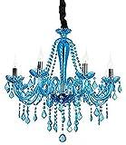 ZJDM Crystal Chic - Lámpara de Techo cálida para araña, Azul Claro - Salón, Dormitorio, Pasillo, Gota de Vidrio, lámpara de Techo, Accesorio Elegante, Joya de acrílico (Azul Claro)