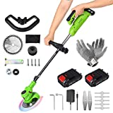 Portable Cordless String Trimmer Edger, Electric Stringless Lawn Mower, Height Adjustable, 2.0Ah Battery and Quick Charger Included, with Replace Blade