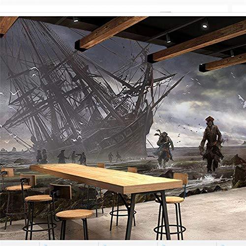 ZHENSI 3D Wandtattoo Benutzerdefinierte Wallpaper Großes Wandbild 3D Foto Wandbild Assassin Creed Piratenschiff Bar Ktv Thema Werkzeug Hintergrund 3D-Tapete, 230 (H) × 310 (W) cm
