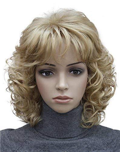 Kalyss Kurze Blonde Perücke mit Haarknallen Frauen Lockige Wellenförmige Hitzebeständige Synthetische Blonde Perücken für Frauen