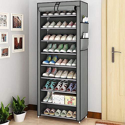 BALLSHOP 10 Ebenen Schuhregal Schuhschrank Schuhaufbewahrung Schuhständer Shoes Rack 58 x 28 x 160 cm für ca. 27 Paar Schuhe DIY Schmal aus Vliesstoffe Selbst Bauen