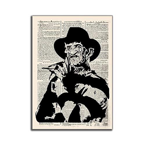 WJWGP Hitler Vintage Antiguo PerióDicos Abstracto Pintura Horror PelíCula CaráCter De La Lona Arte Impresiones Vintage Inicio Pared Cuadros 40x60cm No Marco Poster -K3