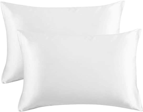 Bedsure Satin Pillowcase For Hair And Skin 2 Pack Queen Size 20x30 Inches Pillow Cases Satin Pillow Covers With Envelope Closure Pure White