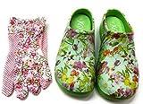 Trachten-Dirndl-More Damen Clogs & Pantoletten mit den passenden Gartenhandschuhen grün bunt geblümt (Grün, Numeric_40)