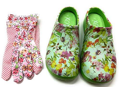 Trachten-Dirndl-More Damen Clogs & Pantoletten mit den passenden Gartenhandschuhen grün bunt geblümt (Grün, Numeric_38)