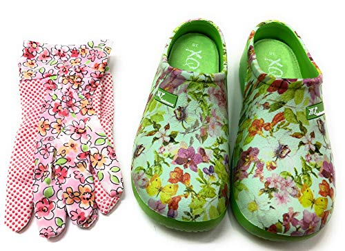 Trachten-Dirndl-More Damen Clogs & Pantoletten mit den passenden Gartenhandschuhen grün bunt geblümt (Grün, Numeric_37)