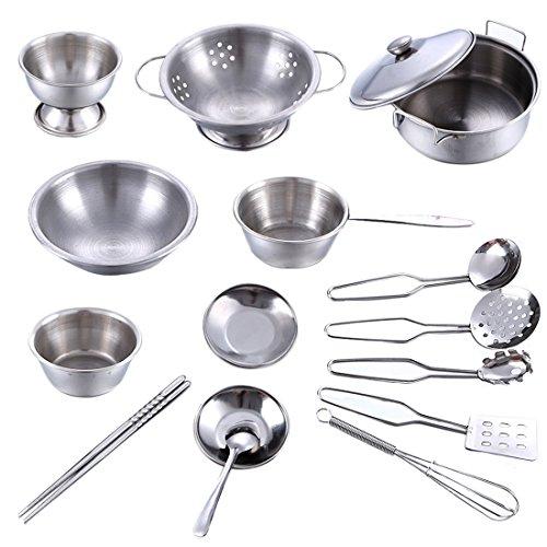 Lommer Kinderküche Geschirr Set, 16 Stück Edelstahl Kochutensilien Set Küchenspielzeug Koch Set Kochen Spielzeug Rollenspiel Set für Kinder