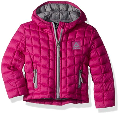 Reebok Girls' Toddler Active Packable Hooded Jacket with Glacier Shield, Fuschia, 4T