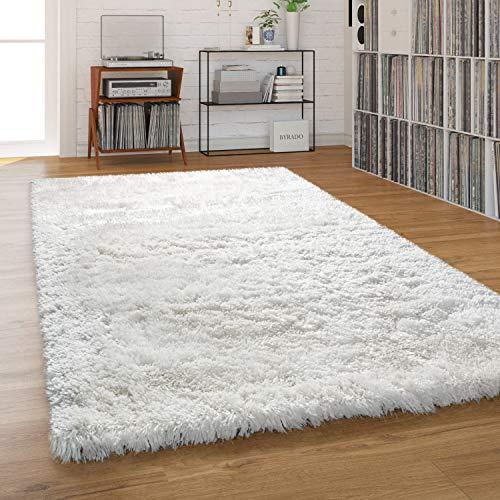 Paco Home Hochflor Teppich Wohnzimmer Shaggy Pastell Einfarbig Weich Flauschig Langflor, Grösse:160x220 cm, Farbe:Creme