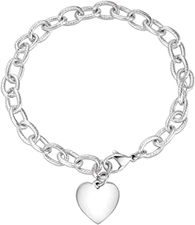 E Cable Chain Bracelet with Heart Charm and Toggle Clasp Closure, Link Bracelet Trendy Vintage Oval Chain Love Bracelet
