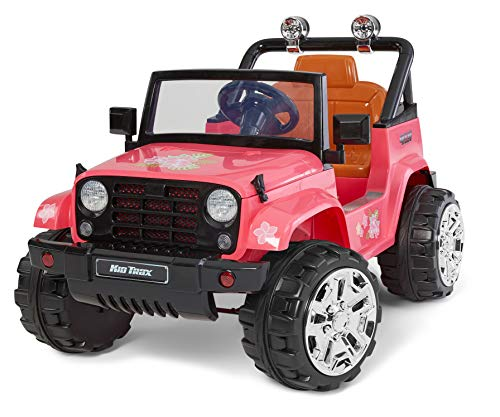 Kid Trax 4x4 Jeep Electric Ride On Toy, 3-5 Years Old, 6 Volt, Max Weight 60 lbs, Beach Cruiser Pink