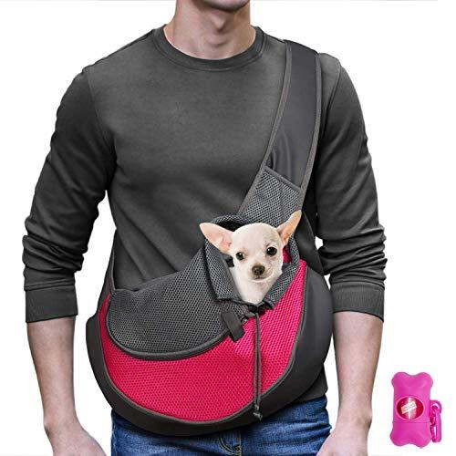 MLM Tragetuch Hund Katze Haustier Hand Schleuderträger Schultertasche Verstellbare Gepolsterte Schultergurt mit Fronttasche hundetragebeutel Metro Outdoor (Rose)