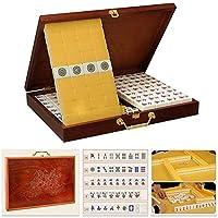 ヴィンテージ麻雀麻雀セット中国の伝統的な麻雀ゲームとパーティーの好意の贈り物のための木製麻雀ボックス