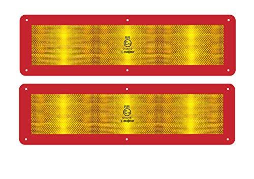 MAGMA 2 Pannelli Segnalatori Posteriori Riflettenti ECE70 per Veicoli lunghi 12m - ECE 70 ECE 70.01 - Pannello retroriflettente (RR) - Resistente ai graffi, 6 fori di bloccaggio, autoadesivo