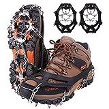 Crampones,19 Garras de Dientes Crampones Cubierta Antideslizante de Zapatos con Cadena de Acero Inoxidable para Excursiones Pesca Escalada Trotar Montañismo Caminata sobre Nieve y Hielo (Negro, L)