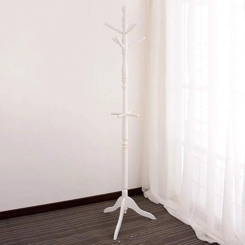 ZPWSNH Solid Wood Coat Rack Floor Hanger Bedroom Coat Rack Single Rod Solid Wood Simple Modern Coat Rack, White, Brown 50 X 50 X 183cm Coat Rack (color   White)