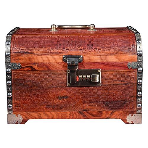 Schmuckschatulle Große Rote Palisander Spiegel Box Dekoration Home Massivholz Schmuckschatulle Schlafzimmer Dressing Box Retro Schmuck Aufbewahrungsbox W12/20 ( Color : Brown , Size : 26*18*17.5cm )
