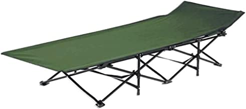 Foldable Camping and Trekking Bed in Canvas Bag - Green / Black