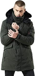 Rain Trench Coat Mens Waterproof with Hood.Mens Winter Medium Length Zipper Hoodie Thickened Wind Proof Cotton Outwear Coat