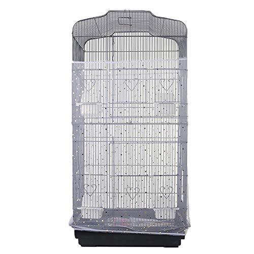 YXYOL Parrot Cage Cubierta de Jaula de pájaros Multicapa, a Prueba de Salpicaduras Extra Grande Jaula de pájaros Universal Colector Semillas Parrot Cage Malla Falda Protector Escudo Jaula,Blanco