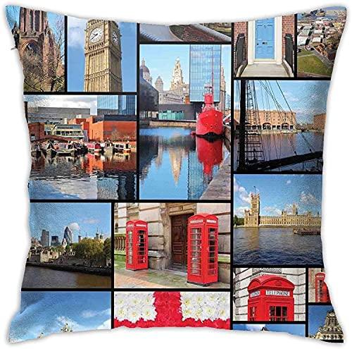 Throw Pillow Funda Inglaterra Ciudad Cabina de teléfono roja Reloj Torre Puente Río Bandera británica con Flores Cremallera Oculta Sofá para el hogar Funda de cojín Decorativa 18x18 Pulgadas