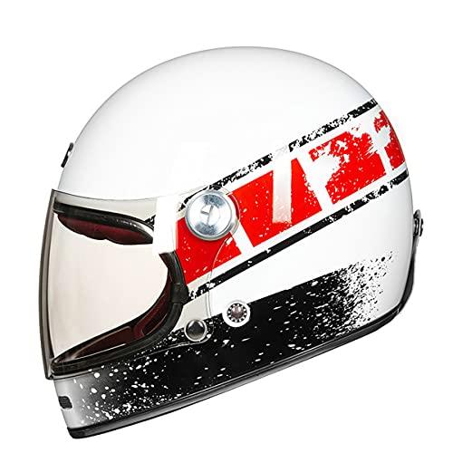 Cara completa de fibra de carbono motocross casco vintage motocicleta profesional retro casco ECE certificación brillante blanco rojo XL