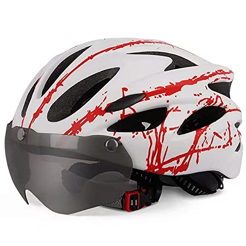 Unisex Adulto Casco Bici,Ajustable montaña protección Seguridad Casco Bicicleta con Desmontable Magnética Protección Gafas y extraíble Acolchado,Ligera Carretera Casco Ciclismo