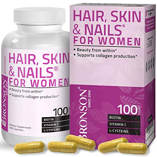 hair skins Hair, Skin & Nails with Biotin Extra Strength Vitamin Supplement for Women, 100 Capsules