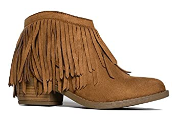 Soda Women s Jervis British Tan Faux Suede Double Fringe Moccasin Ankle Boots  8