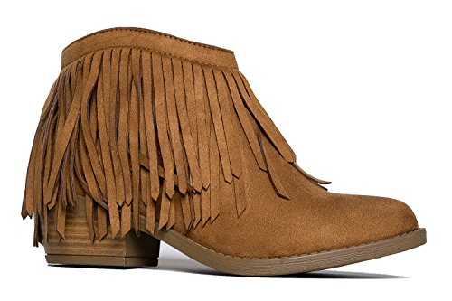Soda Women's Jervis British Tan Faux Suede Double Fringe Moccasin Ankle Boots (6.5)