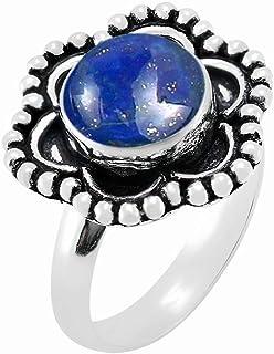 MIRRAMOR Anillo de labradorita natural de 10 mm, forma redonda, anillos solitarios para mujeres, mamá, esposa
