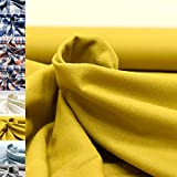 MAGAM-Stoffe Aberdeen Mode Stoff Denim Jeans Flanell Meterware 50cm (Uni senf-gelb)