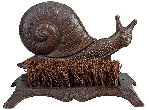 Esschert Design Schuhabstreifer, Fußabtreter Motiv Schnecke aus Gusseisen mit Bürste, ca. 25 cm x 16 cm x 16 cm