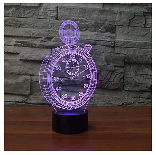 OUUED Luces de noche y luces de repetición Reloj de bolsillo Reloj Forma 3D Lámpara LED Luz de noche 3D Lámpara de mesa colorida como regalo de juguete para bebés y niños, bonito regalo de cumpleaños