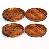 Kaizen Casa 4 Piece Set, Natural Acacia Wood Coasters, Set of 4