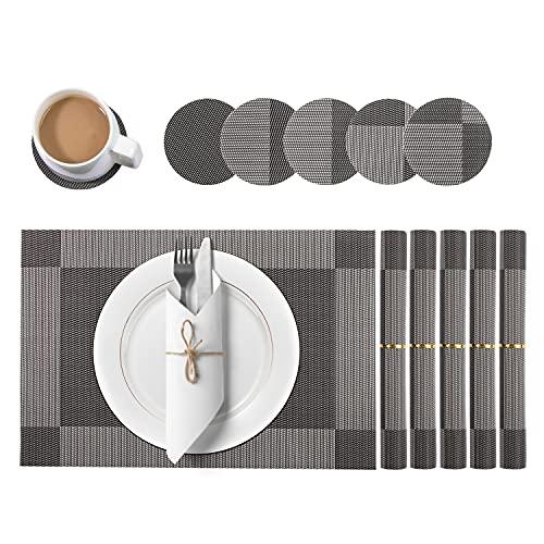 KERMEO Set de Table Lot de 12, 6*Sets de Table Lavable , 6*Dessous de Table Tressé Résiste à la Chaleur Antidérapant Tissé, PVC Vinyle pour Cuisine Table à Manger 30x45cm
