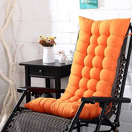 Cojín para silla de respaldo alto, 110 x 40 x 8 cm, para exteriores, patio, tumbona, asiento reclinable, acolchado, grueso, con respaldo, No nulo, Naranja, Tamaño libre