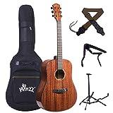 Winzz Guitarra Acústica Vintage de Tamaño Completo, 41 Pulgadas Kit Avanzado de Guitarra para Adultos, Tapa de Caoba Maciza (Forma del Cuerpo: Dreadnought)