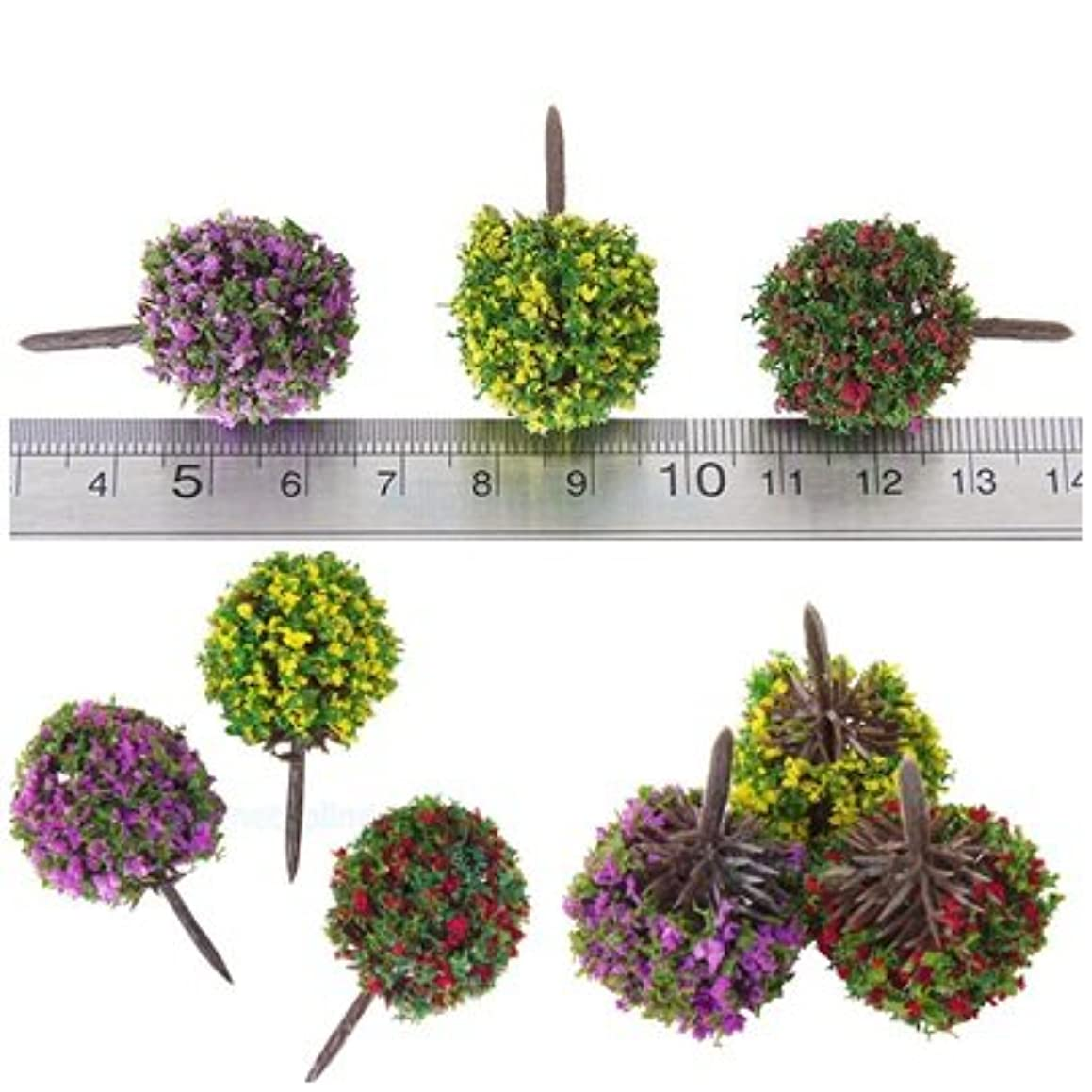 NKS 30pcs Mixed Flower Trees Model Train Garden Scenery HO Scale 1:100