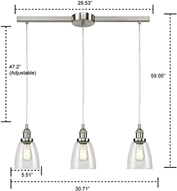 EUL Industrial Brushed Nickel 3-Light Kitchen Island Lighting Linear Pendant with Clear Glass
