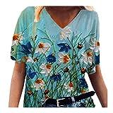 YANFANG Camiseta para Mujer con Estampada Floral Superior de Manga Corta con Cuello en V con Flores Coloridas Casual