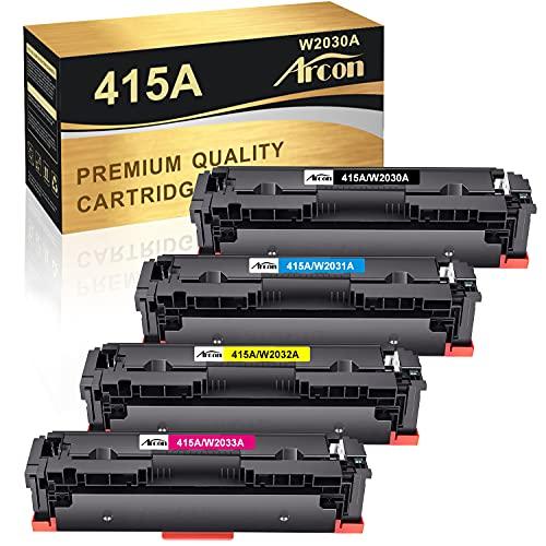Arcon Kompatibel 415A Tonerkartusche als Ersatz für HP W2030A 415X W2030X Color Laserjet Pro MFP M479fdw M479 M479dw M479fdn M479fnw M454dw M454dn M454 Toner (Schwarz,Cyan,Gelb,Magenta, 4er-Pack)